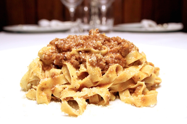 Handmade tagliatelle with Bolognese style ragout