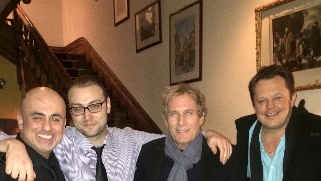 VIP Guests Michael Bolton & friend posing for a picture with our staff, Sam and Jesse